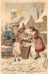 Hold To Light Santa Claus Postcard Old Vintage Christmas Post Card Froehliche...
