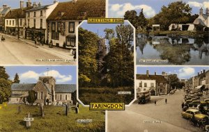 Vintage Oxfordshire Multi View Postcard, Greetings from Faringdon FN4