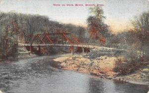 Stuart Iowa~Coon River Horse Buggy Wagon Bridge~1910 Postcard