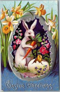 Easter Greetings, Rabbit with Carrot and Hatching Chick Egg Vintage Postcard M14