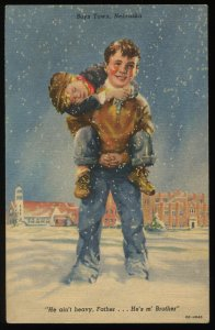 He ain't heavy, Father...He's m' brother. Curt Teich linen postcard. Boys Town