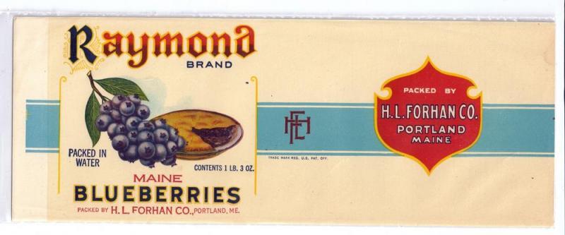 Raymond Maine Blueberries Vintage Can Label Portland ME Forhan 1 lb 3 oz.