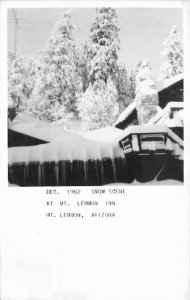 1962 Mt Lemmon Inn Arizona Winter Scene RPPC Photo Postcard 8750