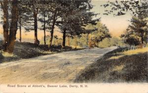 Derry New Hampshire~Beaver Lake~Road Scene at Abbott's~1909 Postcard