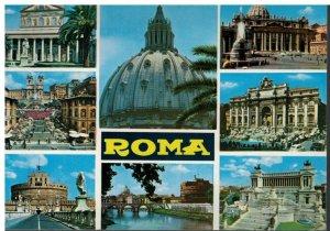 Postcard - Roma - St. Paul's Basilica Bridge & Castle Trinity Mount - Rome Italy