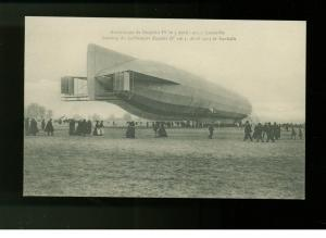 1913 New RPPC Zeppelin IV Luneville France Landing real picture postcard