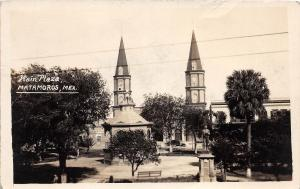 E27/ Matamoros Mexico Real Photo RPPC Postcard c1930s Main Plaza View Towers