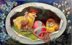 Bright Bold Easter~Chick in Hat~Hot Pink Egg~Wheelbarrow~Gold Leaf Emboss~1520a