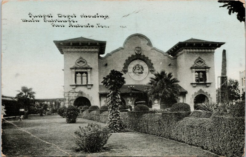 San Antonio TX Sunset Depot Texas c1911 Postcard G21