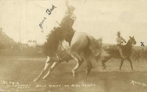 Pendleton, Oregon, Dave White on Hich Tower, Round Up Rodeo (1910) RPPC Postcard