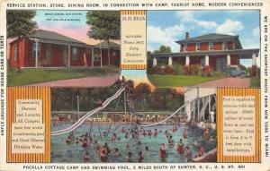 Sumter SC~Pocalla Cottage Camp~Swimming Pool~1940s Art Deco Postcard