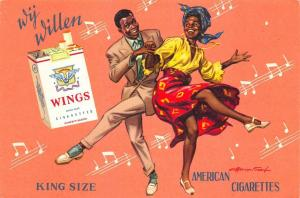 Wings Cigarettes Advertising Black Couple Dancing Artist Signed Vertical PC