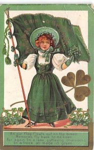 As our Flag Floats out on the Breeze St. Patricks Day Postcard 1909