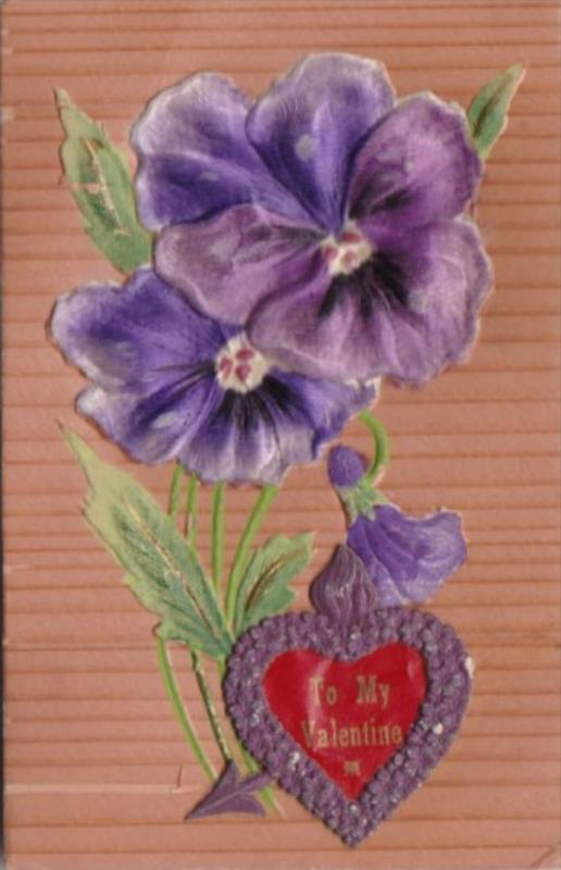 Valentine's Day Purple Flowers With Embroidered Red Heart