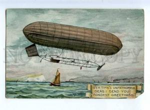 236494 UK dirigible airship Greetings 1907 year RPPC