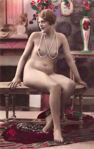 French Tinted Nude Postcard Unused perfect corners, light markings on back side