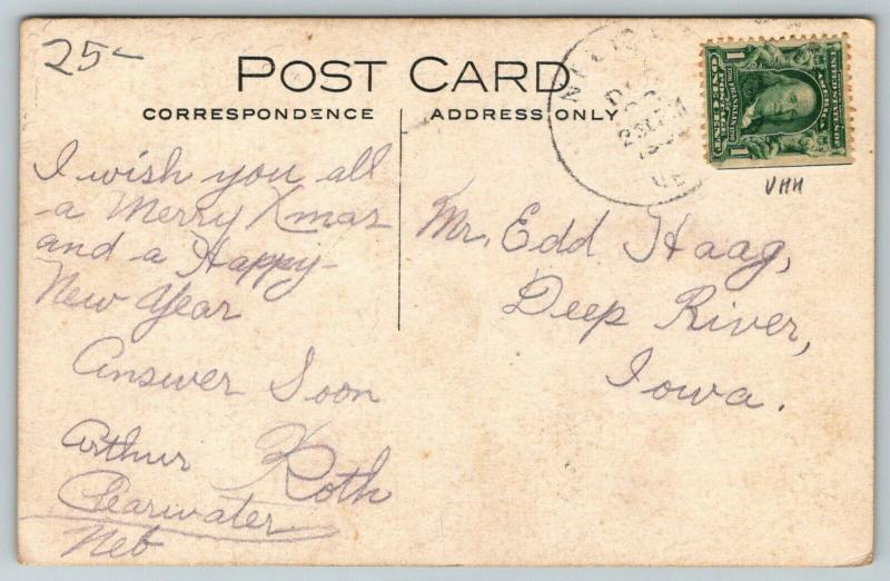 Neligh Nebraska~Elkhorn River~Long Horse Wagon Approaches Bridge~Farm~1908 RPPC