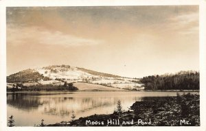 Bridgton ME Moose Hill and Pond Real Photo Postcard