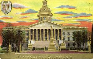 Columbia, South Carolina, State Capitol, Coat of Arms (1910s) Gold Embossed