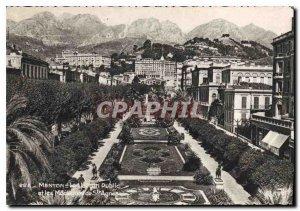 Postcard Moderne Menton The Public Garden and the St. Agnes Mountains