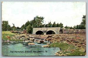Hallowell Maine~Memorial Bridge~Stone Arch Sideview~c1910 Postcard