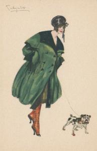 ART DECO ; Female in Green & Black Coat, English Bulldog, 1910-20s