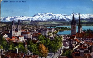 Zurich Switzerland -  ALPINE and City view, 1920s