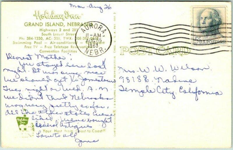 1963 Grand Island, Nebraska Postcard HOLIDAY INN MOTEL Artist's View Roadside