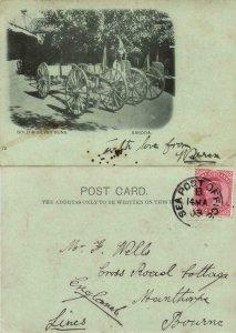 india, BARODA VADODARA, Gold and Silver Guns (1903) Court Card, Sea Post