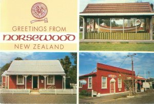 Greetings from Norsewood New Zealand 3 Views, Contintental Postcard