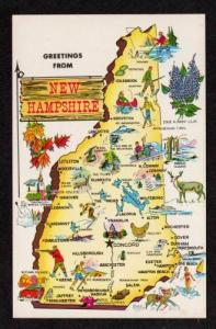 NH Greetings State Map NEW HAMPSHIRE Postcard Dover