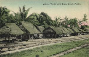 south pacific, WASHINGTON ISLAND, Teraina, Native Village Houses (1910s)