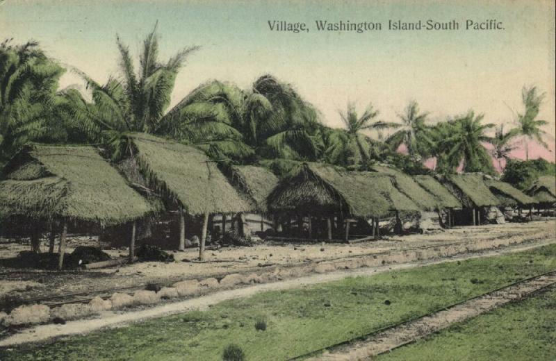 south pacific, WASHINGTON ISLAND, Teraina, Native Village Houses (1910s)