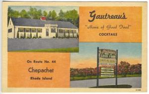 Chepachet RI Gautreau's Restaurant Hood's Ice Cream Roadside Postcard