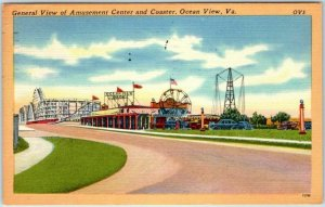 Ocean View, Virginia Postcard Amusement Park / Roller Coaster View Linen 1957