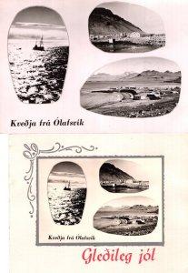 Kvedja Fra Olafsvik 2x Vintage Polish Greeting Card Ship RPC Postcard