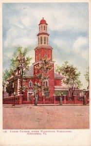 Alexandria, VA, Christ Church, Washington Worshipped, Vintage Postcard g9152