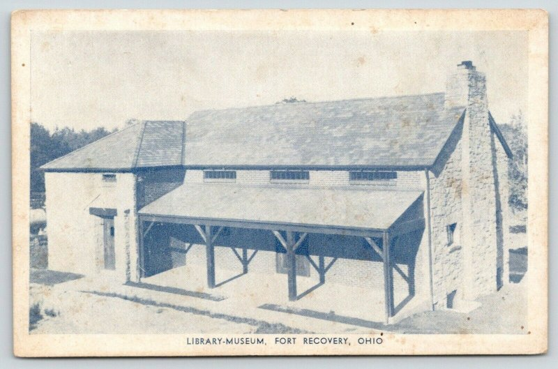 Fort Recovery Ohio~Library-Museum~Indian Relics Collection~1940s B&W Postcard
