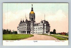 Hartford CT-Connecticut, State Capitol Building Statue Grounds, Vintage Postcard