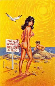 D62/ Nude Comic Bamforth-Like Risque Postcard c1940s Boobs Woman beach 26