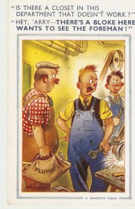 .Is there a closet in this epartment. Bamforth Comic Series postcard No. 1097