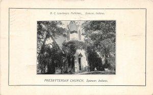 F60/ Spencer Indiana Postcard 1910 Laurimore Presbyterian Church