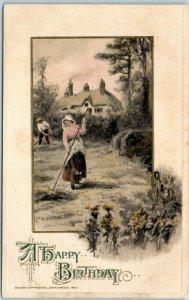 Vintage WINSCH Happy Birthday Greetings Postcard Farming Scene / Cottage c1910s