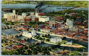 Cedar Rapids Iowa Postcard Air View of Loop District Quaker Oats Plant Linen