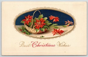 Winsch Christmas Ornate Oval Vignette~Poinsettia Basket on Table~Black Back~Gold