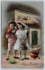 Easter~Victorian Children Outside Hen House~Colored Eggs~GEL Germany~c1910 RPPC