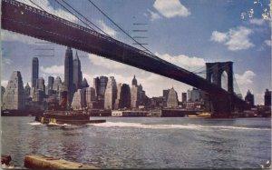 1949 Kodachrome Color Card - Brooklyn Bridge - brooklyn New York NYC Tugboat