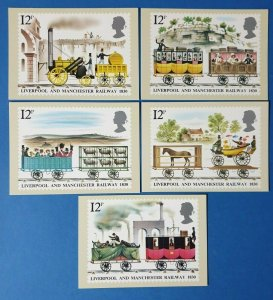 Set of 5 PHQ Stamp Postcards Set No.42 Liverpool & Manchester Railway 1980 CE7