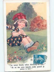 Pre-Linen foreign signed CUTE GIRL SITTING ON GRASS IS THINKING OF YOU HL8351