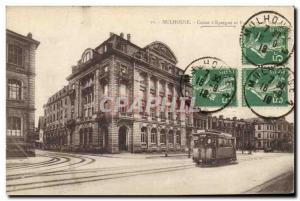 Old Postcard Mulhouse Bank Caisse d & # 39Epargne Tramway
